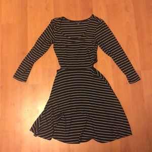 Striped fit and flare dress with side cutouts